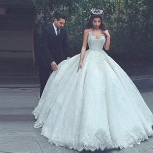 Dernière arabe mariée en dentelle robe de bal robes de mariée 2020 bretelles spaghetti col en V lacé dans le dos de mariée mariage Robes Plus Size
