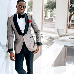 Silver Men Suits Shawl Lapel One Button Prom Suits Slim Fit Blazer Jacket Men Tuxedos Groom Wedding Suits Costume Mariage Homme Coat+Pant