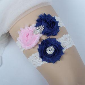 신부 Garters 라인 석 크리스탈 구슬 2pcs 무료 크기 핑크 블루 쉬폰 꽃 신부의 웨딩가 터에 대 한 다리 Garters 플러스 크기 18089