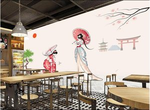 Custom wall stickes photo Simple and fresh japanese style kimono woman background wall 3d murals homedecor murals wallpaper for walls 3 d