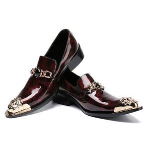 Nouveau luxe strass homme mariage Mocassins de bal verni en cuir verni à bout pointu Slip on Party Punk Rocker Shoes