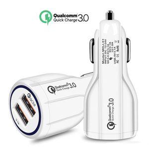 Voiture ChargerBest vente Téléphone portable Chargeur allume-cigare double USB QC3.0 rapide intelligent adaptateur de charge 12V 3.1A pour IPhone Smartphone Android