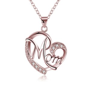 New Love Heart Mom Letters Pendent Necklaces Crystal Fashion Women Jewelry Proposal Mother Day Best Elegant Gift High Quality