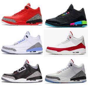 3 Tir réel loup gris de basket-ball Chaussures Hommes Rouge Feu Noir Chat Blanc Ciment formateurs infrarouge Sport pur bleu Hommes Chaussures de sport 40-47