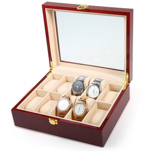 FANALA 5/10 rejillas caja de reloj Negro / rojo de vino de madera PU Display joyería de cuero Organizador hebilla cuadrada Watch Winder Boite Montre