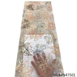 Elbise 5yards ML44N475 için Sequins ile Beautifical Afrika Net Dantel Kumaş Mesh Dantel Nakış Kumaşlar