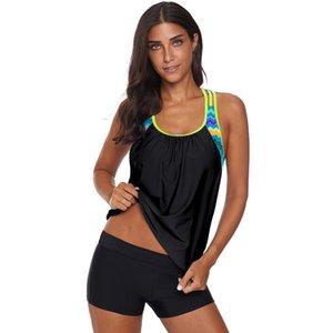 Commercio all'ingrosso Female Classic conservatore Swimwear girocollo maniche maglia a strisce stampato un pezzo Swimwsuit supera per le donne