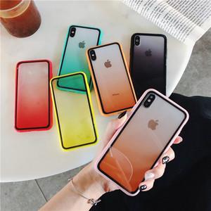 Marco del arco iris del color del gradiente de golpes claro del caso de la cubierta transparente protectora para el iPhone 11 Pro Max X XR XS MAX 6 7 8 Plus