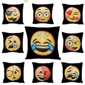 Novo Design dobro da cor Emoji Sequins fronha Moda Rosto Expressão Pillow capas de almofada Home Decor Sofá carro cobre brilhantes