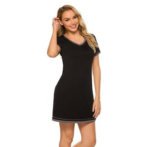 Womens Summer Striped V-Neck Dresses Casual Loose Shirt Dress Fashion Short Sleeve Contrast Color Female Apparel