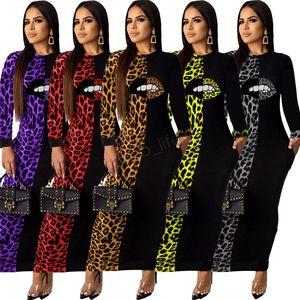 Women Leopard Lip Maxi Dresses Long Sleeve Crew neck Long sleeve patchwork Trendy Pencil Dress Fall Summer Sexy Shirt A-LJA2974
