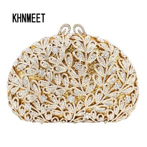 Newest Flower Evening Crystal Bag Golden Stones rhinestone Clutch Evening Bag Female Party Purse Wedding Clutch Bag SC532 CJ191210