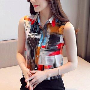 Korean Fashion Chiffon Women Blouses Women Print Blouse Shirts Summer Woman Sleeveless Shirt Tops Plus Size Blusas Mujer De Moda