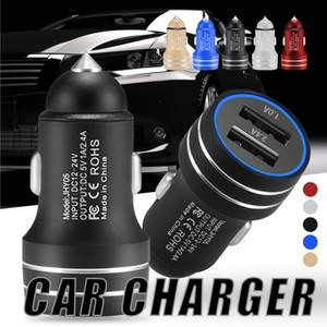 Металлическое автомобильное зарядное устройство 5V 2.4A Адаптер для быстрой зарядки 18W Dual Ports USB Автомобильный адаптер для Android iPhone Универсальные мобильные телефоны с розничной коробкой