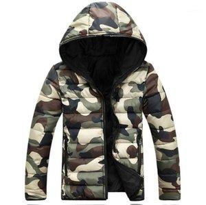 Gruesa manga larga para hombre prendas de vestir exteriores dos lados hombre abajo camuflaje colorido diseñador con capucha abrigos para hombre invierno