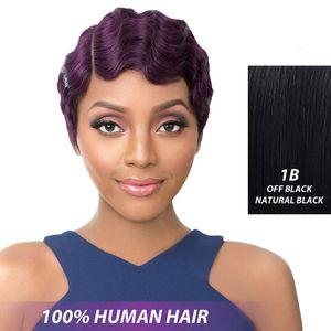 Noir / Blond / or / brun doigt court vague bouclés Perruques Perruques Nuna Janet Collection