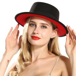 Внешний черный Внутренний Красный плоский Брим Sombreros Flat Top Войлок канотье Hat Женская Lady подражают шерстяных Fedora шляпы с черной лентой
