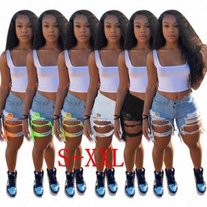 D62807 agujeros para mujer Denim Jean Pantalones cortos apenado de estiramiento lavado de mezclilla pantalones cortos de verano Cut Off raído dobladillo cortocircuitos del motorista blanco azul claro Negro