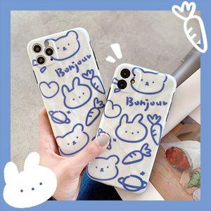 2020 Hot Ins Cute Cartoon Line Bear Rabbit Phone Case For iPone 11Pro 11ProMax 11 X XS XR XRMAX 7&8 7p&8Plus