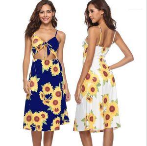 COMBI robe d'été mignon Bow Noeud Designer Plage Mer Location de vacances Robes Femmes Floral One