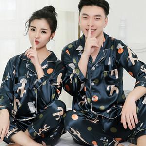 Moda gündelik çift pijama kadın yaz ince ipek pijama erkekler uzun kollu elbise buz ipek seksi ev almak ilkbahar ve sonbahar stil