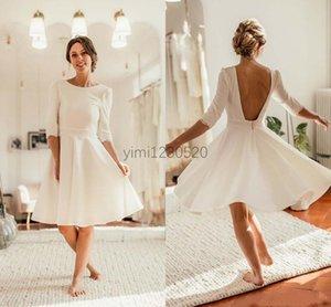 Vestidos de boda del cortocircuito barco sin espalda media manga longitud de la rodilla Apliques Beach Garden País Vestidos de novia Vestidos de boda más del tamaño