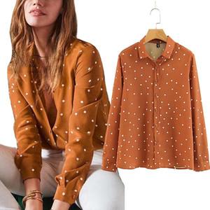 2018 Sonbahar Uzun Kollu Polka Dot Gömlek Turn Down Yaka Kore Moda Düğme Aşağı Sevimli Gömlek Güz Gevşek Streetwear J190613 Tops