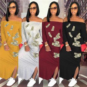 Dólar impresso vestido mulheres slash vestidos verão manga comprida longo maxi vestido split casual solto