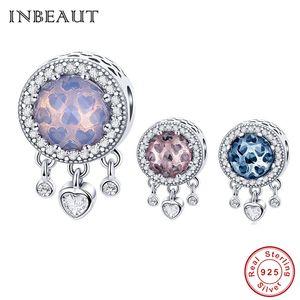 Venta al por mayor Real 925 Sterling Silver Star Heart Crsytal Beads Real S925 azul brillante redondo Cubic Zirconia Charm fit Pandora pulsera