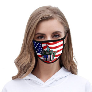 2020 3D US Flag Printed Mask American Independence Day Face Mask Washable Dustproof Mouth Cover Fashion Protective Masks DHL FREE