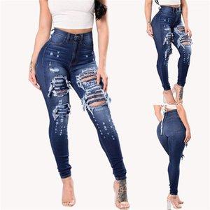 Fly Jeans primavera flaco Jean agujero largo lápiz de los pantalones de cintura alta moda niñas Pantalones para mujer de la cremallera del botón