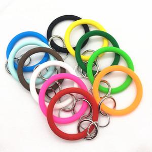 New Fashion O Silica Gel Wear Bracelet Keychain for Women Gifts Trendy Exaggerated Circle Wristlet Keychain Unisex Jewelry M006