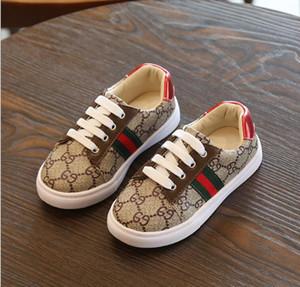 Diseñador de la marca para niños zapatillas de deporte de niño del bebé Formadores Run zapatos infantiles para niños de las muchachas de color marrón Zapatos blancos negros Pour Enfants