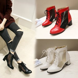 2020 new summer boots women Ankel Botas Breathable Mesh Ladies Booties Spring and Autumn Round Head Women's Boots Black white 8