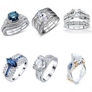 Vintage CZ Wedding Ring Sets 925 Argento Promessa Anello di fidanzamento Gioielli per le donne Taglia 5 6 7 8 9