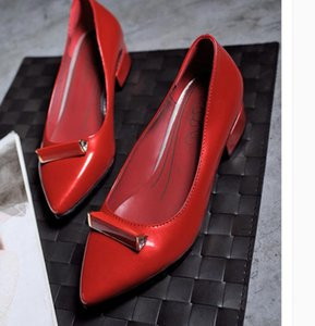 2020 Spring and Autumn with New style fashion Middle heel Coarse heel pointed end Women's shoes@MQWBH630