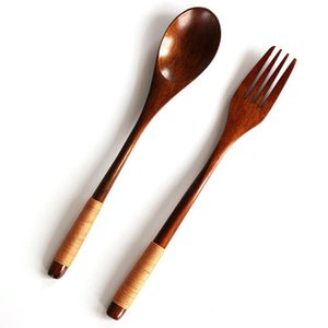 2Pcs set Wooden Spoon Fork Set Portable Cutlery Set Wood Spoon Salad Fork Japanese Style Dinnerware Set LX7884