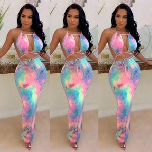 Womens Bodycon Dresse Dresse Womens Tie-Dye Print Dress Fashion Ladys Abiti Halter Donna Casual Bodycon Sexy Abiti