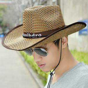 Alta calidad de los hombres del sombrero de vaquero al aire libre Mujer Sombreo Panamá casquillos del sol del verano de paja sombreros de la playa para los hombres caballero Pesca Cap masculino