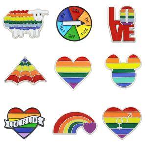 Gökkuşağı LGBT Broş Karikatür Kalp Bayrak Koyun Fare Emaye iğneler Lezbiyenler Eşcinseller Gurur Rozet Lover Giyim Yaka Pin Hediye