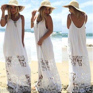 Sexy Beach donne maxi Summer Party Beach abiti di pizzo bianco chiffon delle donne Cover Up Abito da S-XL