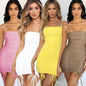 Sashed Crayon Robes Femmes Hip Robe Jupe plissée femmes S Bandage Robe chemise femmes Vêtements Designer