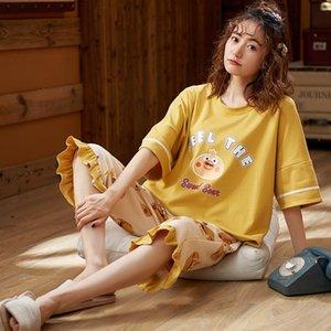 Lingerie Cornes ve Femmes Langerie Peignoir de Yaz kadın Pijama Bahar Pijama kadın Kol Kısa İç Çamaşırı Capris Femme Cotto Okxa