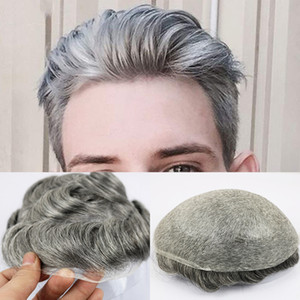 Thin Skin Toupee for Men Men's Hair Pieces Replacement System 1B65 Color Human Hair Mens Wig