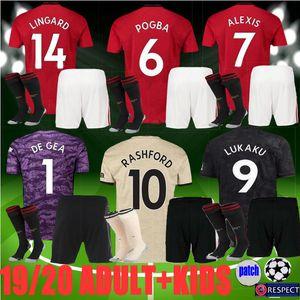 adulte homme enfants 19 20 nouveau manchester maillot de football unie POGBA JAMES 2019 2020 LINGARD LUKAKU RASHFORD maillot de football kit uniformes UtD