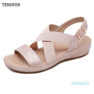 TEMOFON 2020 Sommer-Frauenschuhe Sandalen Peep Toe Gladiator-Sandalen Frauen beiläufige Keilschuhe Damen Schuhe Wohnungen 36-42 l22