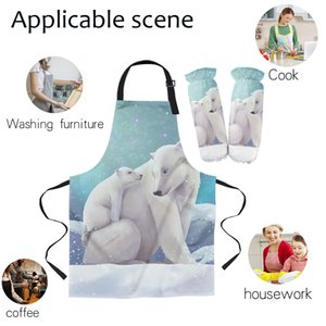 Mother'S Day Polar Bear Ice Aurora Women Men Kids Kitchen Apron Cuff For Cooking Baking BBQ Oven Mitts Cooking Tool