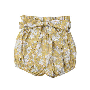Enfant court avec cordon de serrage taille haute bébé fille nourrisson Pantalons Bloomers Shorts couches Nappy couverture Pantalons Bas