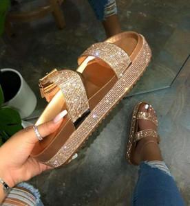 Primavera/verano mujeres de doble capa de diamantes de imitación hebilla sandalias fuera salvaje playa zapatillas señoras ocio casa Flip Flop