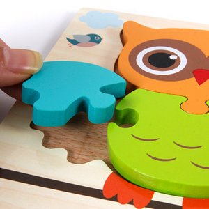 3D rompecabezas de madera de niños Juguetes de bebé Early Education Building Blocks Puzzle de Inteligencia de la mano que agarra el Consejo Animal Puzzle mejor para los niños